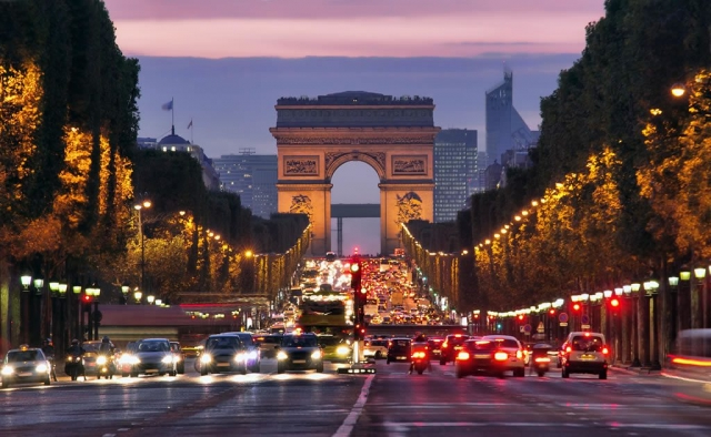 Arc De Triomphe and Champs Elysee
